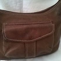 Fossil Pebbled Brown Leather Medium Shoulder Bag Outside Cell Pocket Photo