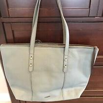 Fossil Pebbled Leather Handbag Tote Greyish Blue Nwot Photo