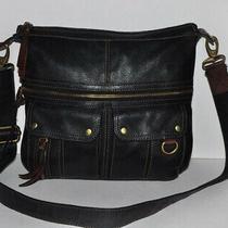 Fossil Pebbled Leather Morgan Traveler Lg. Black Messenger X-Body Shoulder Bag  Photo