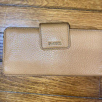Fossil Pebbled Leather Tan Camel Brown Snap Long Big Wallet Photo