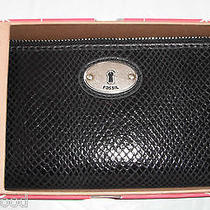 Fossil Perfect Gift Black Snakeskin Clutch Wallet Boxed 65 Photo
