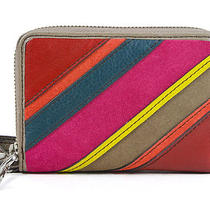 Fossil Perfect Multifunction Patchwork Striped Small Wristlet Phone Case New Photo