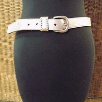 Fossil Pewter Metallic Leather Belt Sz S Photo
