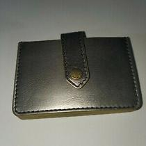 Fossil Pewter/metallic Leather Wallet/credit Card Holder/change Purse Small Photo