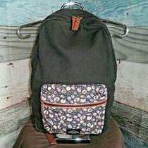 Fossil 'Phoebe' Sturdy Light Canvas Black Backpack W/laptop or Tablet Pouch Photo