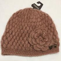Fossil Pink Knit Winter Hat Cap Beanie Stretch Fit One Size Dusty Rose Mauve Photo