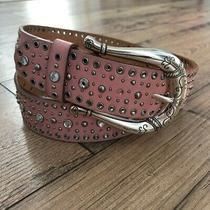 Fossil Pink Leather Studded Boho Western Belt Size Large Photo