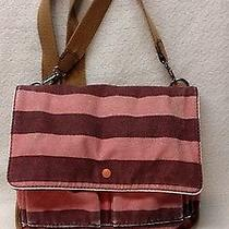 Fossil Pink/maroon Striped Canvas Crossbody/messenger With Tan Leather Detail Photo