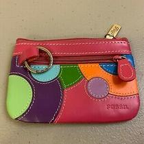 Fossil Pink Multi Color Leather Zip Coin Purse Mini Wallet Card Case  Photo