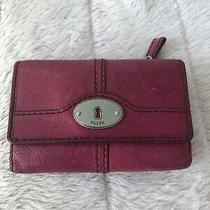 Fossil Pink Pebbled Leather  Wallet Clutch Free Shipping Photo