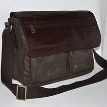 Fossil Plaid Coated Canvas & Dark Brown Leather Messenger Laptop Business Bag Photo