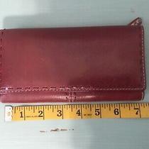 Fossil  Plum/ Maroon Leather Trifold Wallet Organizer Clutch 7 X 4