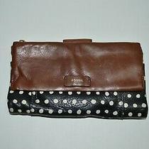 Fossil Polka Dot Black/brown Genuine Leather Wallet  Photo