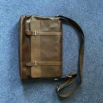 Fossil Portfolio Laptop Messenger Bag Briefcase Brown Leather Photo