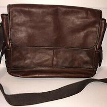 Fossil Portfolio Laptop Messenger Bag Briefcase Brown Tan Leather Adjust Strap Photo