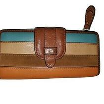 Fossil Pre-Owned Multi Color Leather Clutch Wallet  Photo