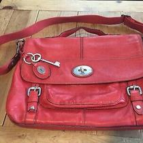 Fossil Pre-Owned Red Leather Laptop/briefcase Bag - Good Condition Photo
