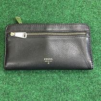 Fossil Preston Black Leather Zip Clutch Wallet Photo