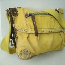 Fossil Pretty Yellow With Floral and Leather Trim Medium Organizer Crossbody Euc Photo