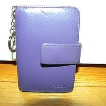 Fossil Purple Leather Id Holder Key Ring Photo Credit Card Coin Purse   Photo