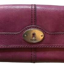 Fossil Purple Leather Wallet Coin Credit Card Organizer. Photo