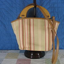 Fossil Purse Bag Wood Handles Shoulder Strap Pockets Stripes Tans  Photo
