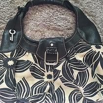 Fossil Purse Black Canvas Floral With Fossil Key Very Cute Photo