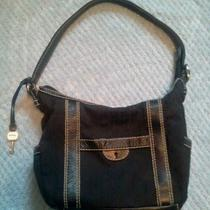 Fossil Purse Black With White Stitching Key Hole  Photo