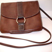 Fossil Purse Brown Leather Shoulder Handbag Crossbody - Zipper Compartment/cell Photo