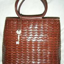 Fossil Purse Handbag Brown Leather Basket Weave Woven Key Hang Tag 76082 Ecnr 54 Photo