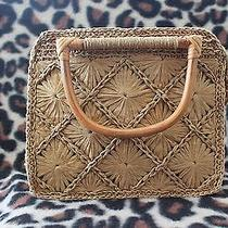 Fossil Purse/handbag Macrame With Straw and Wood Handles. Euc Photo