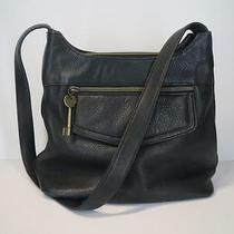 Fossil Purse Handbag Satchel Size Medium Black Pebbled Leather Strap Key Zip Top Photo