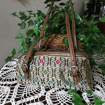Fossil Purse Handbag  Signature Cloth Fabric/leather Small Satchel   Photo