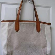 Fossil Purse Large Tote Cream Camel Leather Shoulder Bag Authentic Metallic Tan Photo