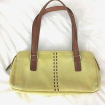 Fossil Purse Leather Solid Yellow Shoulder Bag Baguette Brown Medium Stitching Photo