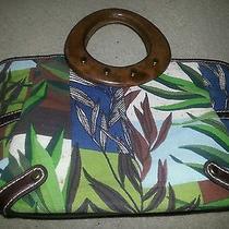 Fossil Purse Modern Vintage Handbag  Canvas Leather & Wooden Handles Photo