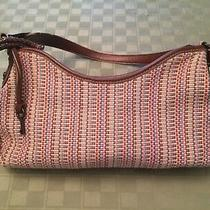 Fossil Purse Multi Color Woven Leather Multi Compartments With Key Photo