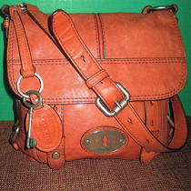 Fossil Purse Satchel-Cross Body-Shoulder Bag-Rust Brown Leather-3 Section Photo