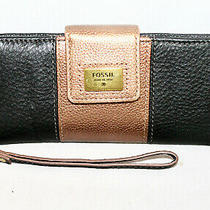 Fossil Quinn Bi-Fold Clutch Wallet Wristlet Black & Bronze Pebbled Leather Photo