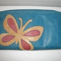 Fossil Rare Unique Genuine Leather Clutch/ Wallet Butterfly Zip Photo