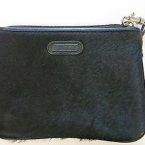Fossil Rare Vintage Black Unique Wristlet Purse Bag Leather & Fur Zip Top Euc Photo