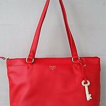 Fossil Real Red Leather Gift Medium Shopper Tote Shoulder Bag Zb6684622 Nwt 188 Photo
