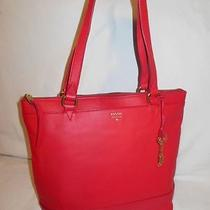 Fossil Real Red Leather Gift Shopper Tote Shoulder Bag W/fob Wow Photo