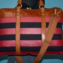 Fossil Red Blue Canvas Brown Leather Unisex Work Laptop Cross-Body Purse Bag Photo
