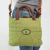 Fossil Red Canvas Green Brow Leather Shoulder Hobo Tote Cross Body Purse Bag Photo