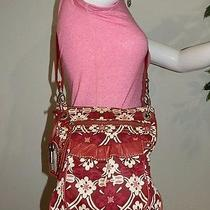 Fossil Red Canvas Leather Crossbody Shoulder Bag Handbag Purse Tote  Photo