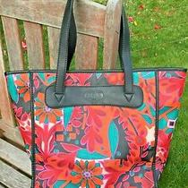 Fossil Red Floral Tote With Black Trim Photo