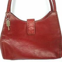 Fossil Red Genuine Leather Tote Handbag Shoulder Bag Purse Multi Compartment Med Photo