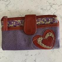 Fossil Red Heart Applique Purple Floral Pebble Leather Wallet Photo