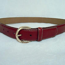 Fossil Red Leather Belt Sz Large Fossil Name Engraved on Buckle Rare Photo
